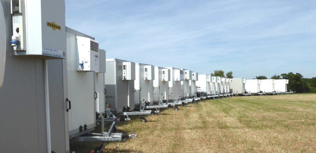 20 Coldtraila trailers in a line